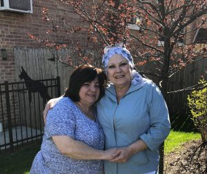 My Cousin Anne-Marie & ger baby-sister Sandy. AnneMarie has Cancer in her Spine area & has been taking Chemo-therapy,